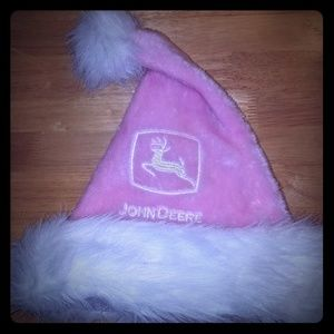 Pink John Deere Santa claus Christmas hat
